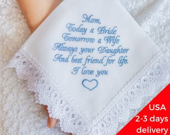 mother of the bride handkerchief embroidered wedding gift for mom from daughter