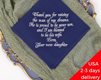 Father in Law Gifts from Daughter in Law Wedding Handkerchief Father of the Groom Gift from Bride Navy Cotton Embroidered Hankie