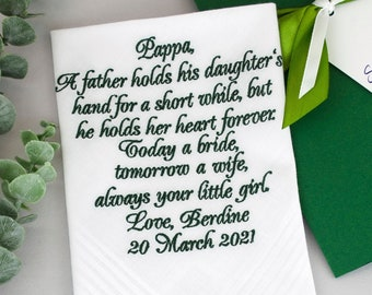 Father of the bride wedding handkerchief for dad from daughter personalized hankerchief embroidered daddy hankies