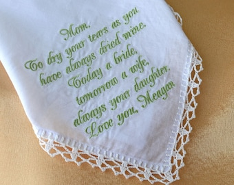 Mother of the bride gift from daughter Wedding gift for mother of the bride Gifts for mom from daughter Wedding handkerchief for mom in law