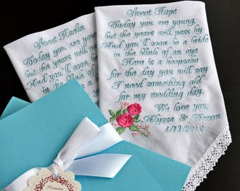 Something blue Personalized Flower girl gift wedding day Bride gift Flower girl Wedding gift Wedding handkerchief gift Blue wedding llemio