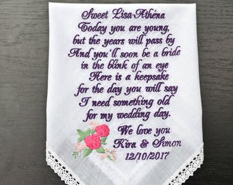Gift for her Flower girl gift Flower girl handkerchief Wedding Handkerchief Wedding gift for Flower girl bride gift something blue hankie