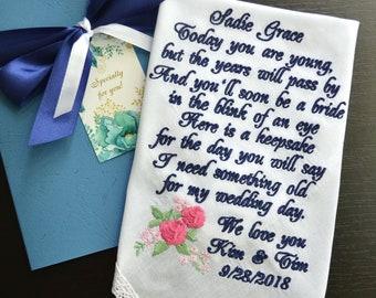 Flower girl gift Flower girl handkerchief embroidered something old gift for flower girl from bride Flower girl poem hankerchief hankie