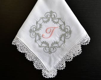 Monogrammed Handkerchief for her, Initial Letter Hanky, Wedding hankerchief for the Bride, Custom wedding gift for Bride, Personalized gift