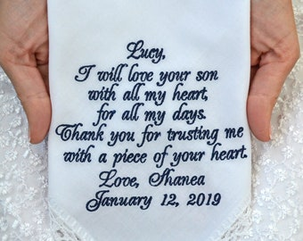 Mother of the groom gift Future mother in law hanky Wedding handkerchief embroidered hankerchief Groom mom gift from Bride Parents gift