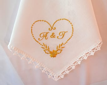 Personalized wedding gifts for couple Personalized monogrammed handkerchief unique wedding gifts personalized, Wedding day gift