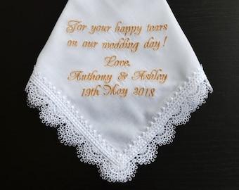 Wedding handkerchief, personalized handkerchief, hankerchief, Wedding hankies, monogrammed wedding for your happy tears