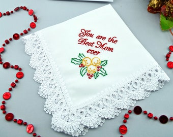 Parent Christmas gift for Parents Mom Christmas gift for Mother Dad holiday decorations Father Holly berries gift Embroidered Handkerchief
