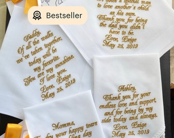 Custom Embroidered Wedding Handkerchief Mother of the Bride Gift Parent Wedding Gifts Father of Bride Personalize Hankerchief Dad StepDad