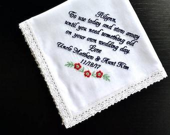 Flower girl handkerchief Flower girl gift Wedding Handkerchief Wedding gift for Flower girl groom gift bride gift something old hankie