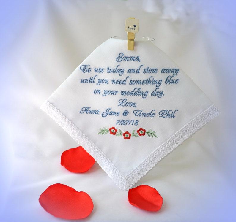 Flower girl keepsake gift for little girl personalized embroidered Wedding Hankerchief Wedding gift Something old blue hankie  poem llemio