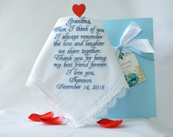 Grandmother of the bride gift Grandma handkerchief Nanny wedding handkerchief for grandmother hankerchief hanky hankie Grandmother gift