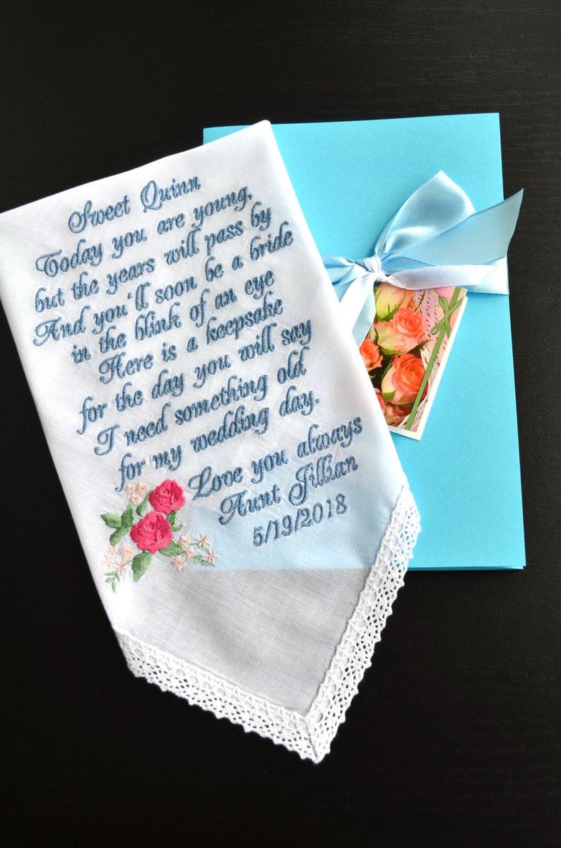 Flower girl handkerchief something blue gift Gift for her image 0