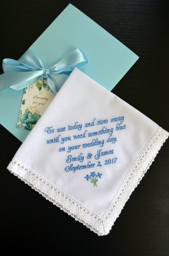 Flower Girl Handkerchief Something Blue Gift Gift For Her Etsy