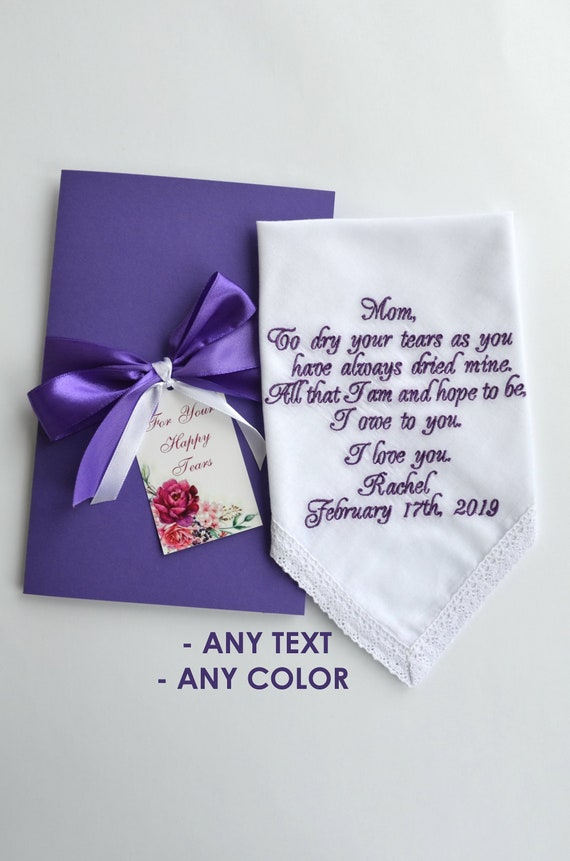 1 PERSONALISED HANDKERCHIEF GIFT MOTHER MUM MUMMY MOM PRESENT DAY ANY NAME WORDS
