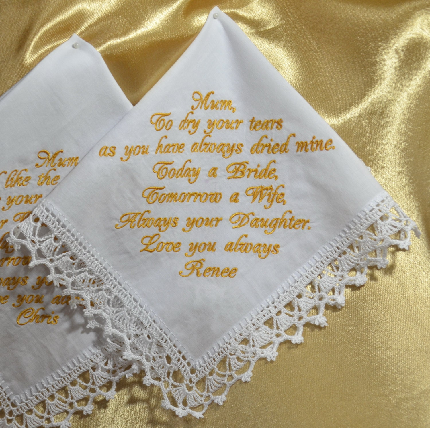 Wedding Gift To Bride: Personalized Wedding Handkerchief For Mom From Daughter