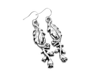 Earrings handmade, earrings handmade dangle, dangling earrings, floral earrings, silver earrings, silver earrings, sterling silver thistle