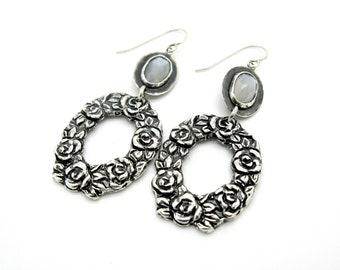 Moonstone, large hoops, one of a kind, hoops, Sterling silver, floral earring, wedding jewelry, Moonstone earrings, bride, white moonston