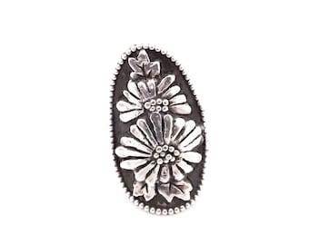 Silver flower ring, daisy ring, sunflower ring, boho ring, pointer finger ring, handmade, sterling silver, flower ring, shield ring,