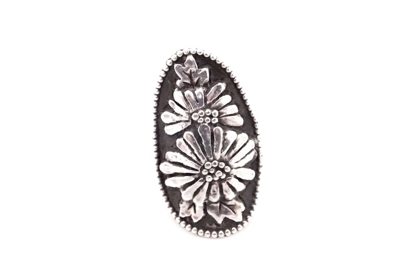 Silver flower ring daisy ring sunflower ring boho ring image 0