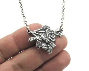 rose necklace, silver necklace, flower necklace, graduation necklace, Sterling silver, graduation gift, Bridal jewelry,