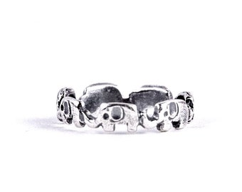 Elephants, elephant ring, Sterling Silver, lucky, friendship ring, silver walking elephant ring, Elephant band, Good Luck Ring,