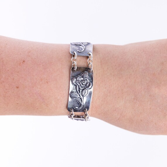 roses sterling silver unique jewelry Silver flower Bracelet Silver bracelet link bracelet mothers day botanical jewelry floral