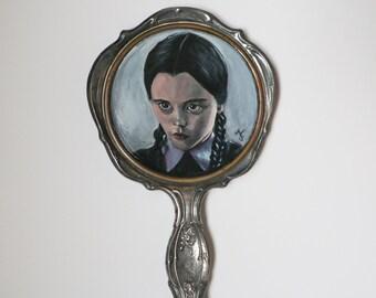 Wednesday Addams Painting, Vintage Hand Mirror
