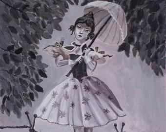 Tightrope Girl Painting Giclee Print, Wall Art, Haunted Mansion, Disneyland, Stretching Portrait, Disney, Fan Art