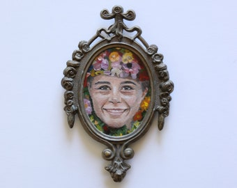 The May Queen Original Painting in Frame, Midsommar, Folk Art