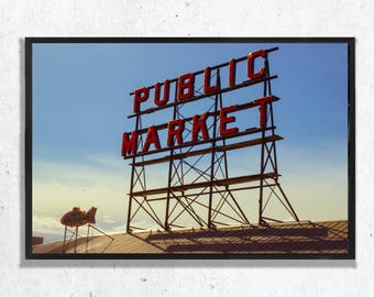 Pike Place Public Market Sign Photographic Print, Wall Art, Black and White