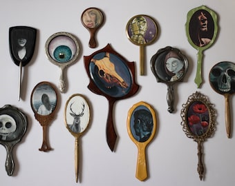 Commission Painting on Vintage Hand Mirrors, Custom Art Piece