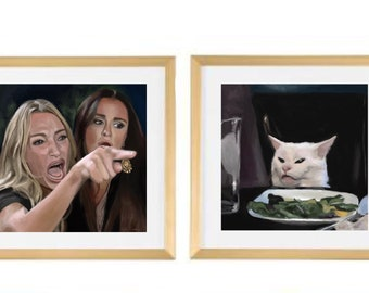 Woman Yelling at a Cat Meme Painting Art Print, Real Housewives, Salad Cat