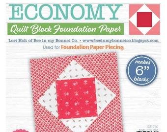 "Lori Holt Quilt Block Foundation Paper - Economy Block - 6"""