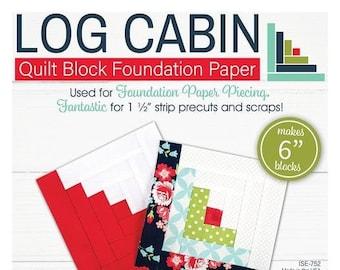"Lori Holt Quilt Block Foundation Paper - Log Cabin - 6"""
