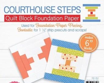 "Lori Holt Quilt Block Foundation Paper - Courthouse Steps - 6"""