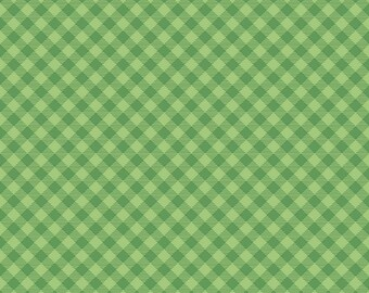 COZY CHRISTMAS by Lori Holt for Riley Blake -  C7972 Gingham Green - 1/2 yd Increments, Cut Continuously or Fat Quarter
