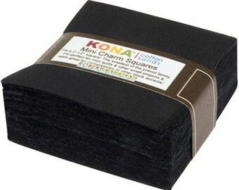 "Kona Black MINI Charm Pack by Robert Kaufman -  2.5"" Stacker - Precut 2.5"" x 2.5"" Squares - 84 pieces"