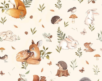 Little Fawn & Friends by Dear Stella -  DNS1912 Friends in Cream - 1/2 yd Increments or Fat Quarters, Cut Continuously