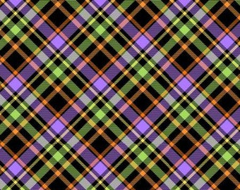 Glow Ghosts Glow in the Dark by Henry Glass -  Black Plaid on Bias - 1/2 yd Increments, Cut Continuously or Fat Quarter