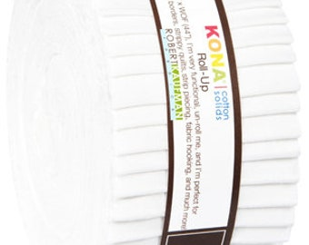 "Kona White Roll-ups by Robert Kaufman - 2.5"" WOF Fabric Strips - 40 pieces"