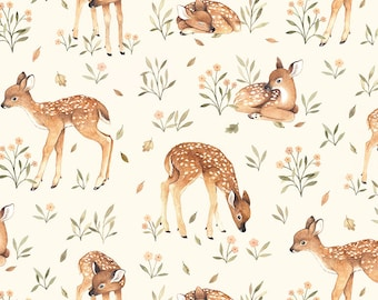 Little Fawn & Friends by Dear Stella -  DNS1905 Little Fawn in Cream - 1/2 yd Increments or Fat Quarters, Cut Continuously