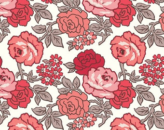 """108"""" FLEA MARKET by Lori Holt for Riley Blake -  WB10232 Roses Wide Back Red - 1 yd Increments"""