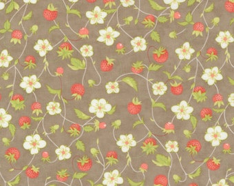 Strawberries & Rhubarb by Fig Tree for Moda -  20402-17 Strawberry Jam Slate - 1/2 yd Increments, Cut Continuously OR Fat Quarter
