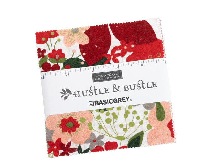 """PRE-ORDER: Hustle and Bustle by BasicGrey for Moda -  5"""" Charm Pack - Precut 5"""" x 5"""" Squares - 42 pieces"""
