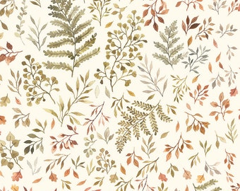 Little Fawn & Friends by Dear Stella -  DNS1906 Autumn Ferns and Leaves in Cream - 1/2 yd Increments or Fat Quarters, Cut Continuously