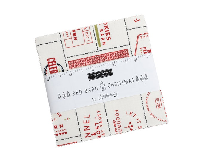 """PRE-ORDER: Red Barn Christmas by Sweetwater for Moda -  5"""" Charm Pack - Precut 5"""" x 5"""" Squares - 42 pieces"""