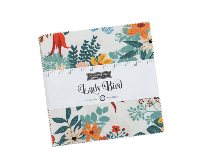 """PRE-ORDER: Lady Bird by Crystal Manning for Moda -  5"""" Charm Pack - Precut 5"""" x 5"""" Squares - 42 pieces"""