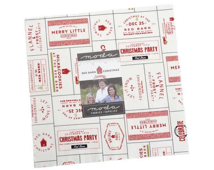 """Red Barn Christmas by Sweetwater for Moda -  10"""" Layer Cake - Precut 10"""" x 10"""" Squares - 42 pieces"""
