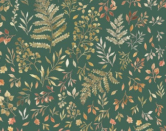 Little Fawn & Friends by Dear Stella -  DNS1906 Autumn Ferns and Leaves in Willow - 1/2 yd Increments or Fat Quarters, Cut Continuously